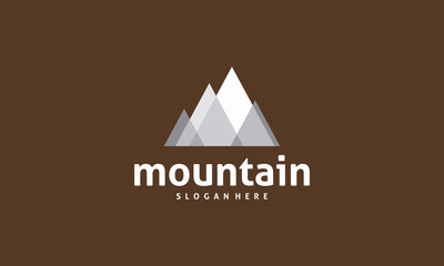 Flat Mountain Logo designs vector, Mountain Expedition in triangle style logo template