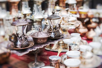 Copper product as souvenir in Bosnia and Herzegovina. Selective Focus.