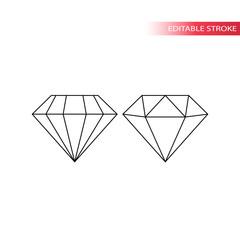 Thin line black diamond icon set. Diamond outline editable stroke icons.