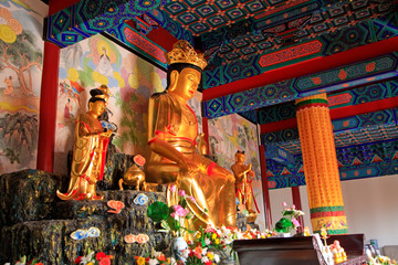 Bodhisattva golden body sculpture in Hengshan Dajue Temple, Luan County, Hebei Province, China