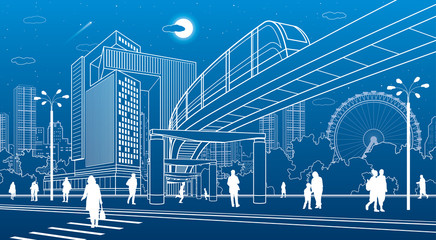 Business Center, city architecture. People walking at town street. Road crosswalk. Monorail bridge, train move. Urban life. Vector design art