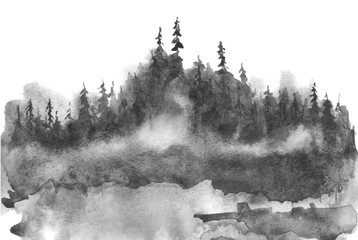 Watercolor picture of mountains, rocks, peaks. Coniferous forest, pine, spruce, fir, cedar. Black silhouettes. Abstract vintage spots of black, white. Postcard, logo, poster. Splash of paint.