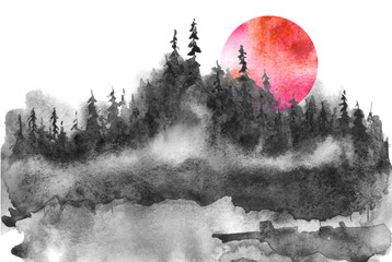 Watercolor logo, postcard, background Black silhouette of the forest, pine, spruce, cedar. Watercolor landscape, black splash of paint, abstract spots, beautiful drawing. Red, pink sun, sunset.