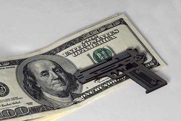 100 bucks note and gun mockup
