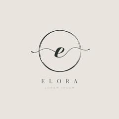 Simple Elegant Letter E Logo With Circle Brush