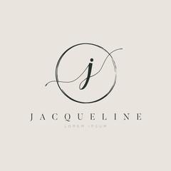Simple Elegant Letter J Logo With Circle Brush