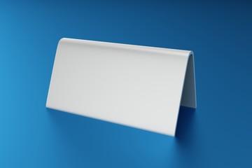 3D Illustration - Blank Table Card white ob blue