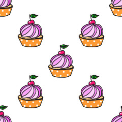 Cute cupcake seamless pattern