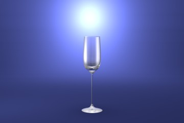 3D illustration of cordial liqueur glass on light blue highlighted artistic background - drinking glass render