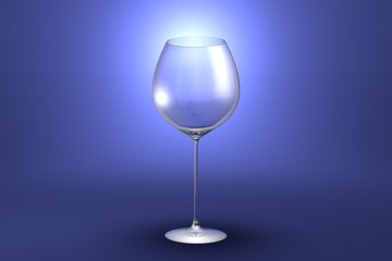 3D illustration of red wine glass on light blue highlighted artistic background - drinking glass render
