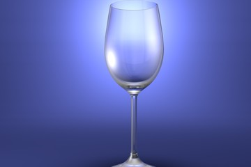 3D illustration of white wine glass on light blue highlighted artistic background - drinking glass render