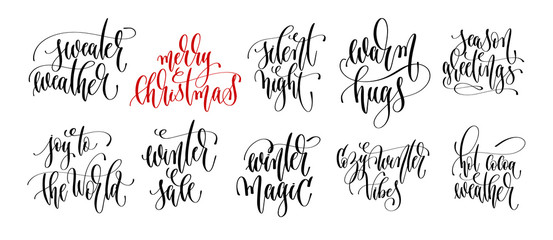 set of 10 hand lettering inscription text to winter holiday