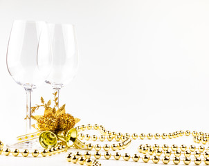Christmas background glasses of wine on the background decorations