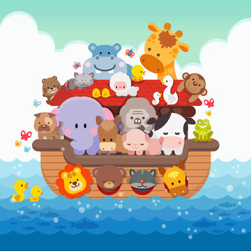 Noah's Ark cartoon and cute animals children illustrationNoah's Ark cartoon and cute animals children illustration