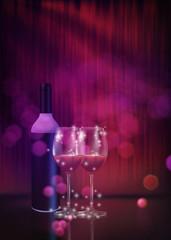 Festive red wine glass