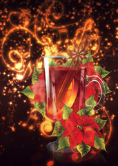 Mulled wine with poinsettia background
