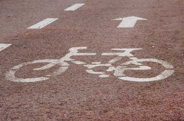 Bicicleta y flecha en carril bici