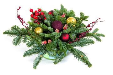 A bouquet of New Year's tree with Christmas decorations. Isolated.