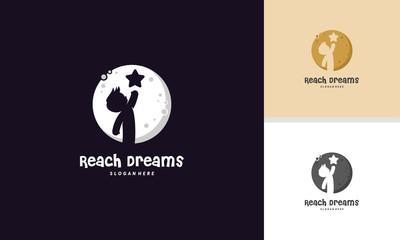 Reach Dreams logo with Moon symbol, Reaching Star logo, Online Learning logo designs vector, Kids Dream logo
