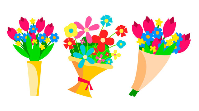 Flowers Bouquets Set Vector. Beautiful Floral Gift. Spring Present. Garden, Bloom. Isolated Flat Illustration
