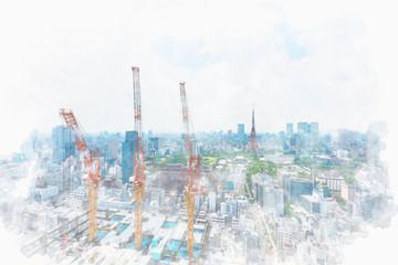 東京の都市風景 Construction work of high-rise building