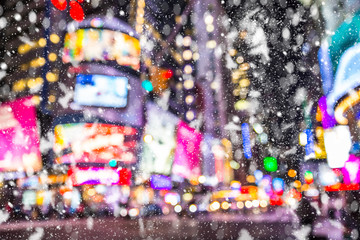 Defocused blur Times Square  New York City  Manhattan street scene with cars , lights and...