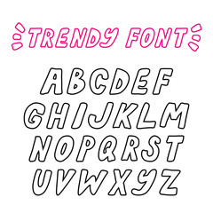 Hand drawn vector trendy bold outline font. Vector capital letters alphabet.