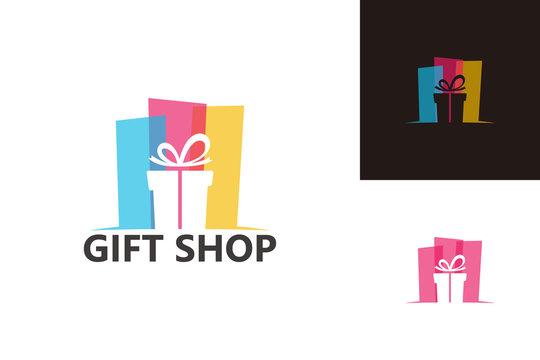Gift Shop Logo Template Design Vector, Emblem, Design Concept, Creative Symbol, Icon