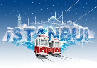 Istanbul Trams in the winter season