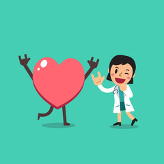 Vector cartoon character female doctor with big heart for design.