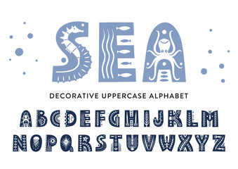 Vector uppercase alphabet decorated with sea patterns