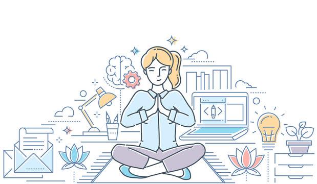 Mindfulness - modern line design style colorful illustration