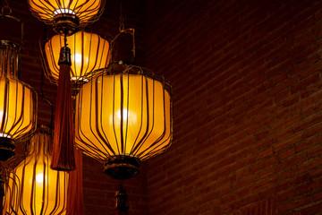 Design of modern Vietnam lamp style with orange light