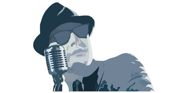 Male singer in black glasses, man singing into vintage microphone isolated over white, musicians concept