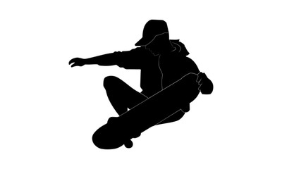 silhouette image of a young man showing skill on a skateboard while squatting.