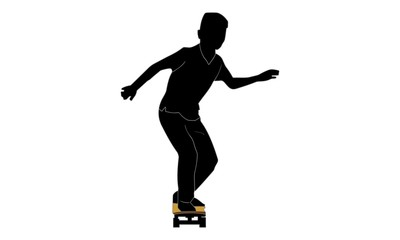 the young man's silhouette in action on a skateboard.