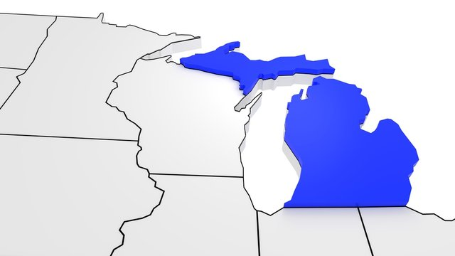 Michigan state highlighted in blue on 3D map of the United States