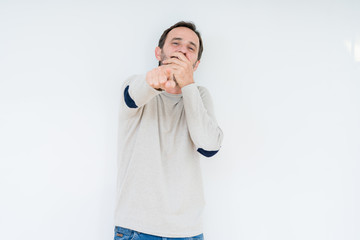 Elegant senior man over isolated background Laughing of you, pointing to the camera with finger hand over mouth, shame expression