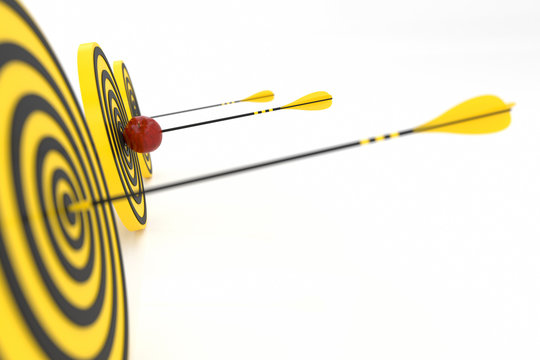Three yellow arrows hit three yellow targets and a red apple in the center, 3d illustration