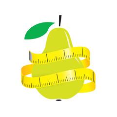 illustration of measuring tape around fresh pear. Diet concept. Vector illustration