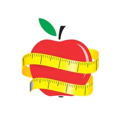 illustration of measuring tape around fresh red apple. Diet concept. Vector illustration