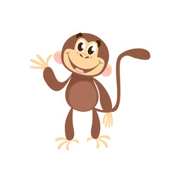 Cheerful monkey waving hand. Greeting, fun, happiness. Holiday concept. Vector illustration can be used for topics like animals, communication, friendship