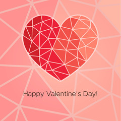 Happy Valentine's Day! Beautiful Heart! Abstract low poly geometric polygon vector illustration on pink background