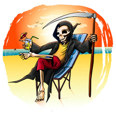 death on vacation on the beach in a raincoat on a deck chair