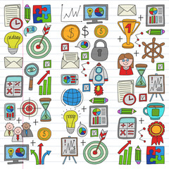 Vector set of bussines icons in doodle style. colorful on a piece of paper in line.