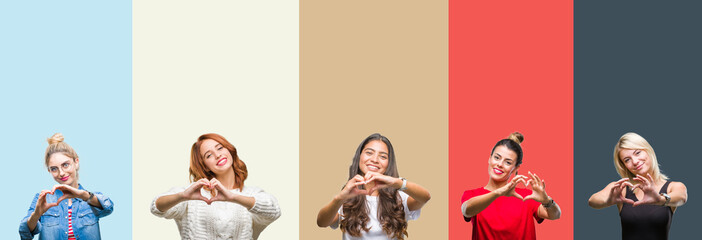 Collage of group of beautiful casual woman over vintage autumn colors isolated background smiling in love showing heart symbol and shape with hands. Romantic concept.