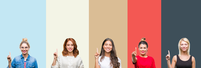 Collage of group of beautiful casual woman over vintage autumn colors isolated background showing and pointing up with finger number one while smiling confident and happy.