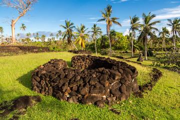 Talietumu (Kolo Nui), archaeological site in Uvea (Wallis) island, Wallis and Futuna, Oceania, South Pacific Ocean. A fortified Tongan settlement (Tongan fort), from the period of Tu'i Tonga Empire