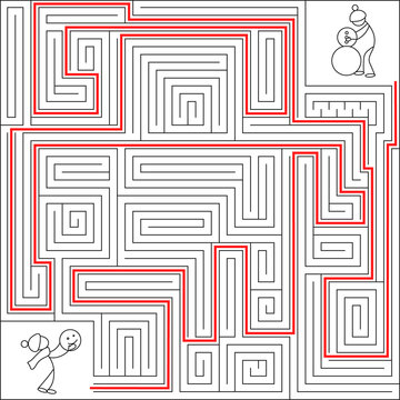 Complex puzzle winter maze labyrinth vector with solution