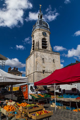 Local market and a bell tower